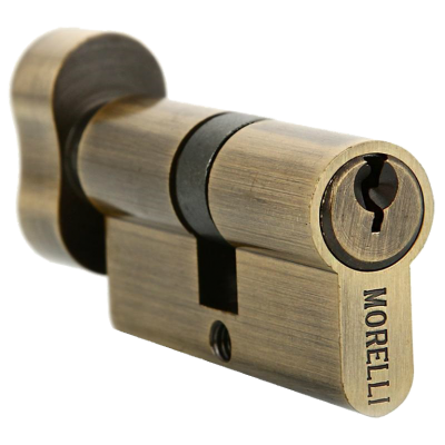 Ключевой цилиндр MORELLI с поворотной ручкой (60 мм) Античная бронза