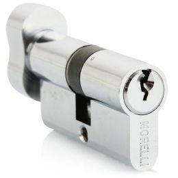 Ключевой цилиндр MORELLI с поворотной ручкой (60 мм) Хром